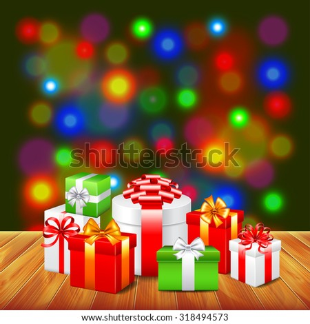 Christmas gifts on wooden table colorful background realistic vector - stock vector