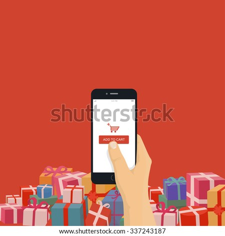 Christmas gifts online shopping. Hand holding mobile phone with add to cart button, modern flat design illustration. - stock vector