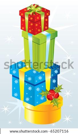 Christmas gifts, vector - stock vector