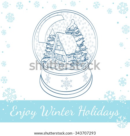 Christmas gingerbread, cookies decorated white icing and glass of milk. Vector hand drawn line art illustration - stock vector