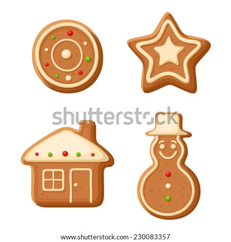 Christmas gingerbread cookies. Vector illustration. - stock vector