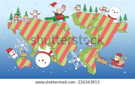 Christmas global party concept line illustration   - stock vector