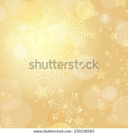 Christmas gold frame with balls and snowflakes (vector eps 10) - stock vector