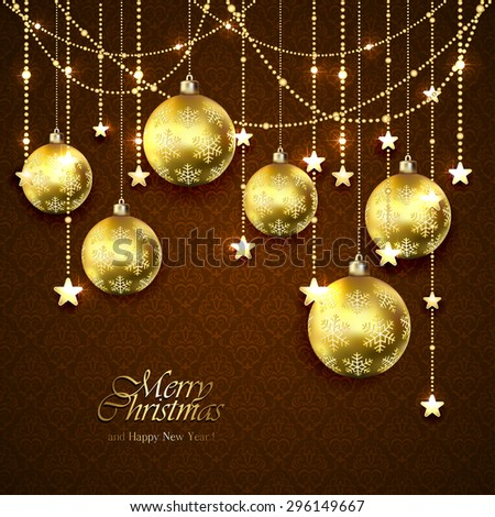 Christmas golden balls, stars and decorative elements on brown wallpaper, illustration. - stock vector