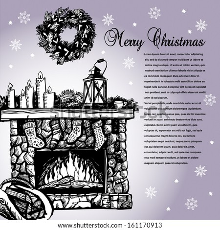 Christmas graphics card with a fireplace - stock vector