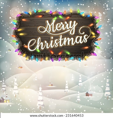 Christmas greeting Calligraphy - Vintage landscape with Signboard. EPS 10 vector file included - stock vector