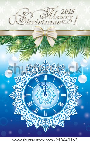 christmas greeting card 2015 - stock vector