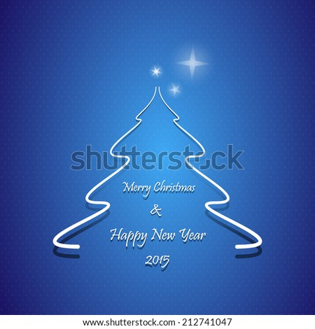 Christmas greeting card, Abstract Christmas tree with Merry Christmas and Happy New Year 2015 text, on blue background  - stock vector