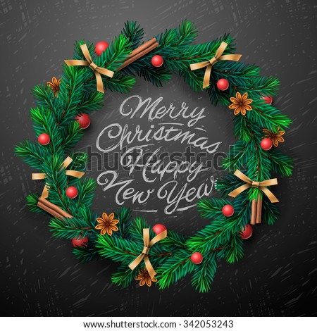 Christmas greeting card and background. Christmas wreath with garlands, Merry Christmas and Happy New Year lettering, vector illustration. - stock vector