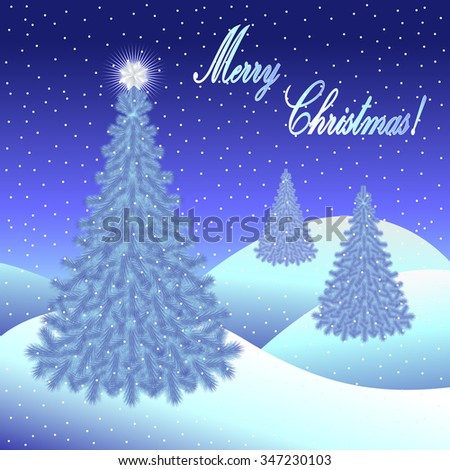 Christmas greeting card and background with Christmas tree and Merry Christmas lettering. Vector illustration. - stock vector