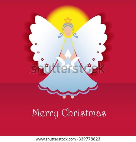 Christmas Greeting Card. Angel. Vector - stock vector