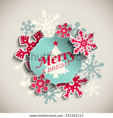 Christmas greeting card, blue sticker with text merry and bright with abstract red snowflakes, on beige background, vector illustration, eps 10 with transparency - stock vector