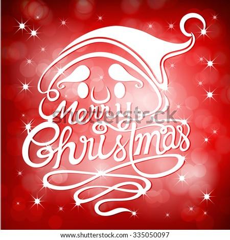 Christmas Greeting Card/Christmas Typographic Background / Merry Christmas / Santa - stock vector