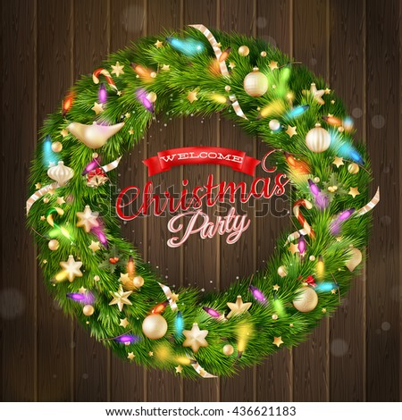 Christmas greeting card. Christmas wreath with garlands, Merry Christmas and Happy New Year lettering. EPS 10 vector file included - stock vector