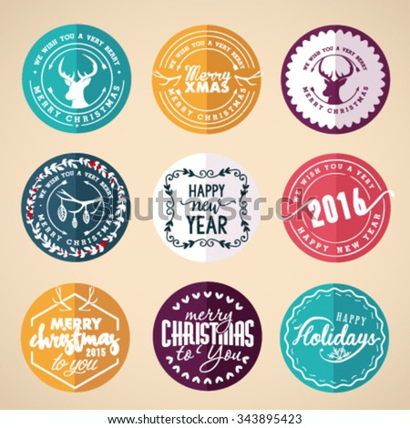Christmas Greeting Card Design Elements, Badges and Labels in Vintage Style - stock vector