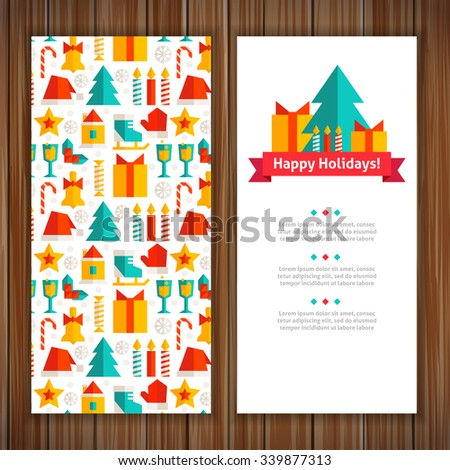 Christmas greeting card. Greeting card with a stylish design in a flat style. - stock vector