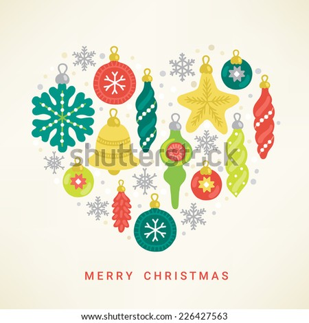 Christmas greeting card. Heart with decorations - snowflake, star, balls, baubles, bell  - stock vector