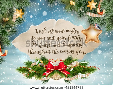 Christmas greeting card - holidays lettering on a winter snow background. EPS 10 vector file included - stock vector
