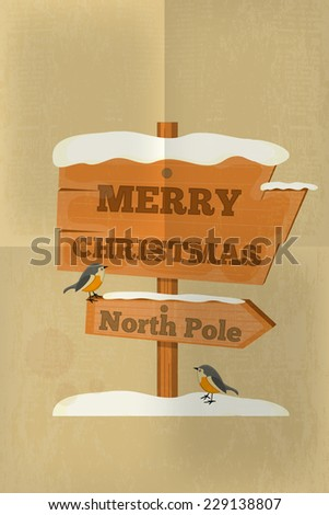 Christmas Greeting Card in Retro Style - Signpost North Pole. Vector Illustration. - stock vector