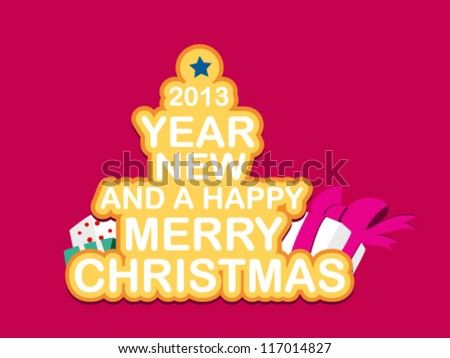 Christmas Greeting Card. Merry Christmas and a happy New Year lettering  illustration - stock vector