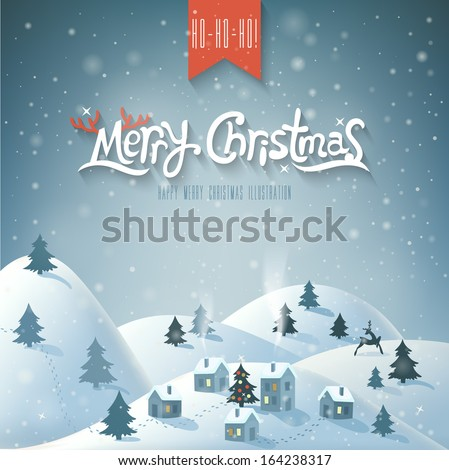 Christmas Greeting Card. Merry Christmas lettering.  - stock vector