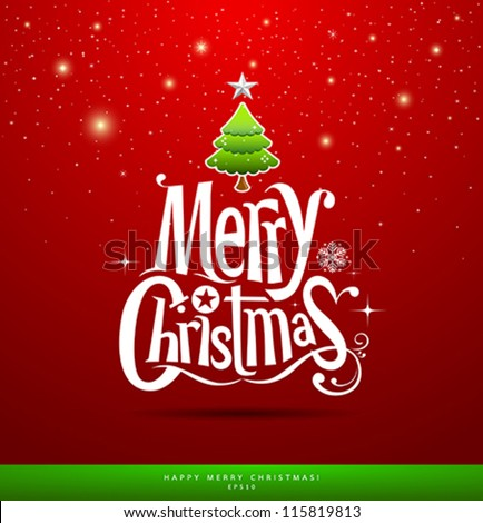 Christmas Greeting Card. Merry Christmas lettering, vector illustration - stock vector