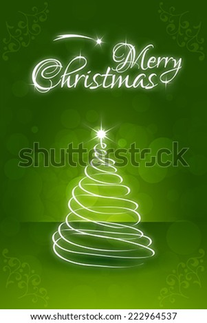 Christmas Greeting Card. Merry Christmas lettering with Christmas Tree - stock vector