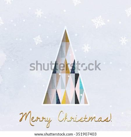 christmas greeting card. modern christmas tree vector background. geometric christmas tree. scandinavian design christmas card. - stock vector