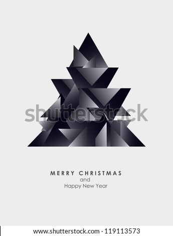 Christmas Greeting Card/ modern style/ Merry Christmas decor /Christmas tree - stock vector