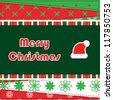 Christmas Greeting Card. Patchwork christmas background with santa hat - stock vector
