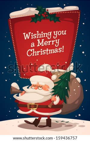Christmas greeting card \ poster \ banner. Santa brings gifts and fir tree. Vector illustration. - stock vector