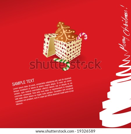 christmas greeting card- present, sweet and gingerbread cake- vector - stock vector
