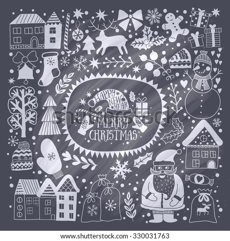 Christmas greeting card template, vector Merry Christmas. Winter holiday design, frame wreath design made of childish doodles: Santa, houses, deer, winter forest, mittens, snowman. - stock vector