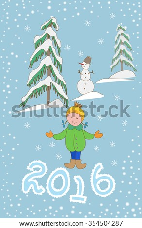 Christmas greeting card template, vector with child and snowman 2016. Happy new year postcard design with girl enjoying the holiday. Winter snow with bokeh effect. - stock vector