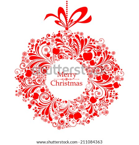 Christmas Greeting Card. Vintage card with Christmas wreath. vector illustration  - stock vector