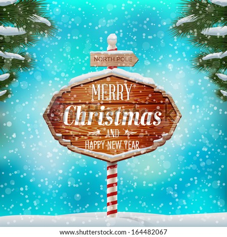 Christmas greeting card, winter landscape with wooden signboard. Vector illustration - stock vector