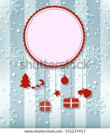 Christmas Greeting Card. with big free space for your advertising  - stock vector