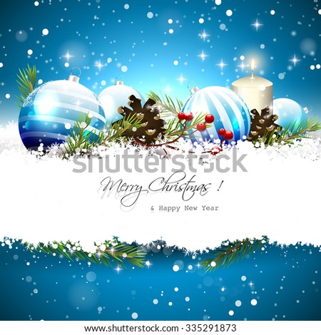Christmas greeting card with blue baubles, branches,pinecones and berries on blue background - stock vector