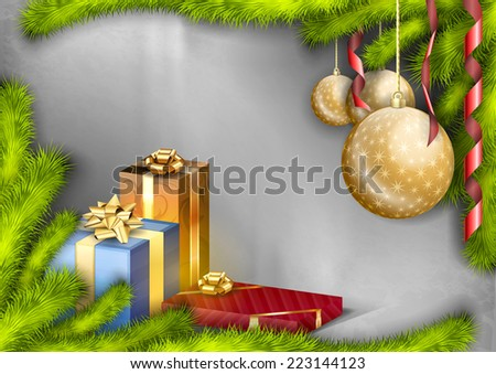 Christmas greeting card with branches, gifts and balls. Vector background. - stock vector