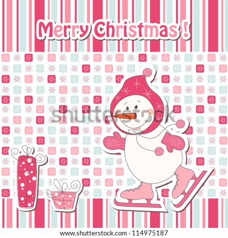 Christmas greeting card with cartoon  snowman ice skating - stock vector