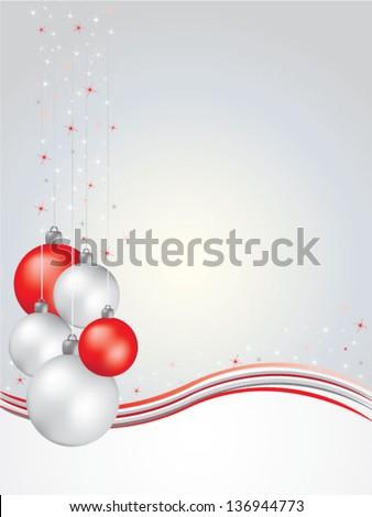 Christmas greeting card with christmas balls - stock vector