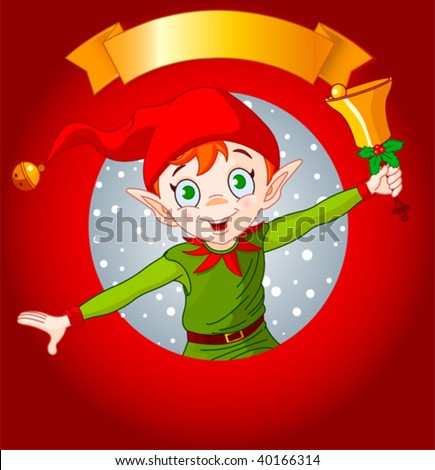 Christmas greeting card with Christmas elf ringing a bell. - stock vector