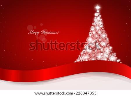 Christmas greeting card with Christmas tree, vector illustration. - stock vector