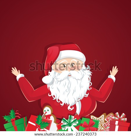 Christmas greeting card with cute cartoonish Santa Claus - stock vector