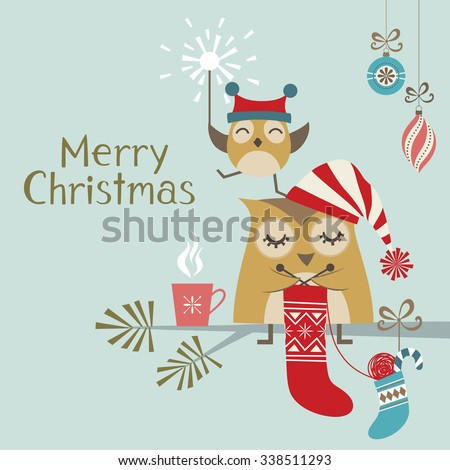 Christmas greeting card with cute owls - stock vector