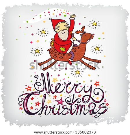 Christmas greeting card with cute Santa Claus. - stock vector