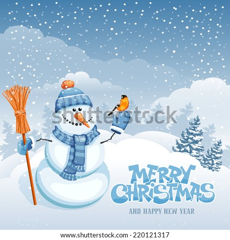 Christmas greeting card with cute snowman on winter landscape - stock vector
