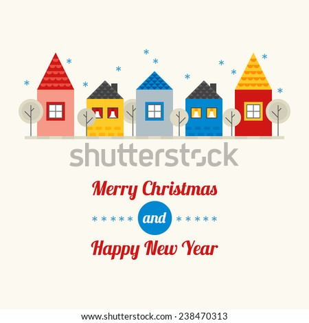 Christmas greeting card with different houses in Red, Yellow, Grey and Blue colors. Perfect for Christmas invitation, holiday background. Flat design vector illustration - stock vector
