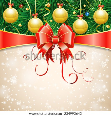 Christmas Greeting Card with Fir Branches, Baubles, Streamer and Bow. Vector illustration. - stock vector