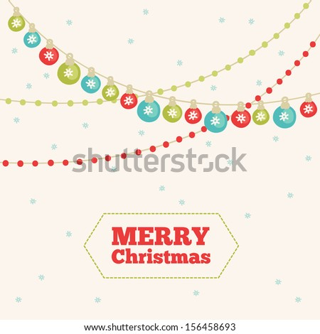 Christmas greeting card with garland - stock vector